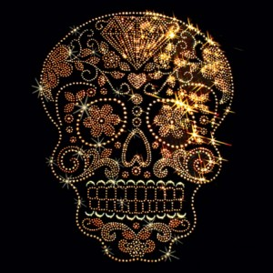 Rhinestone Golden Sugar Skull