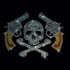 Rhinestone PIstols and Skull