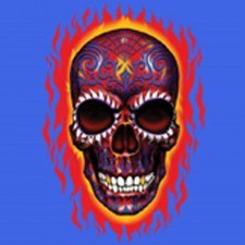 Flaming Candy Skull