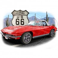 Route 66 Red Sports Car