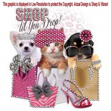 Rhinestone Shopping Cats